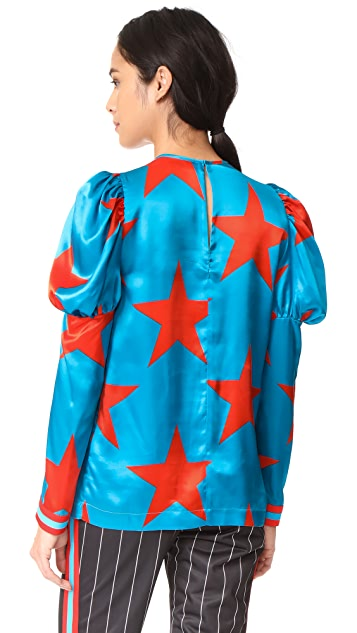 MSGM Star Print Silk Blouse