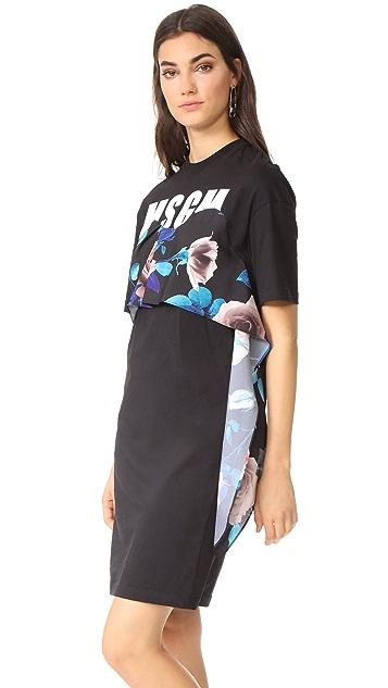 MSGM T-Shirt Ruffle Dress