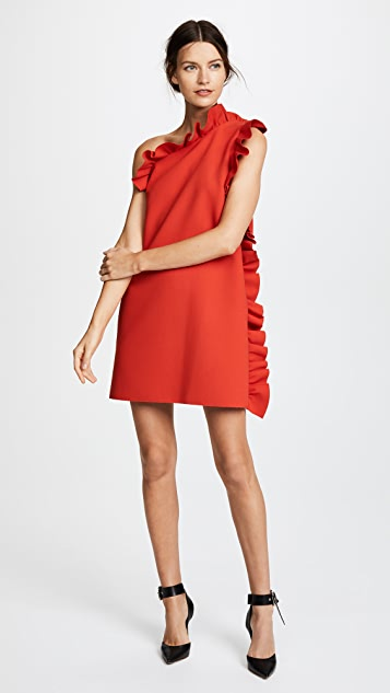 MSGM One Shoulder Crepe Ruffle Dress