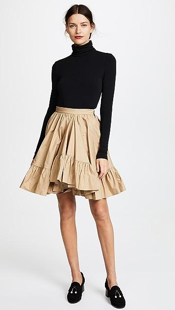 MSGM Poplin Ruffle Skirt