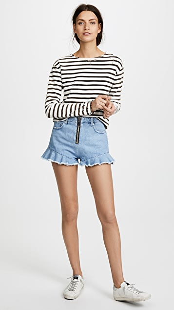 MSGM Ruffle Denim Shorts