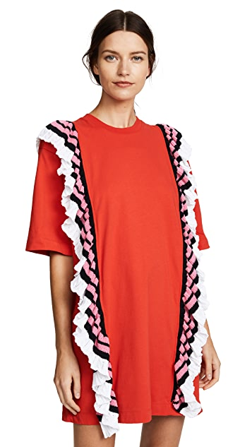 MSGM T-Shirt Dress with Crochet Ruffle