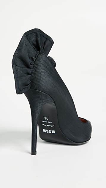 MSGM Decollette Ruffle Pumps