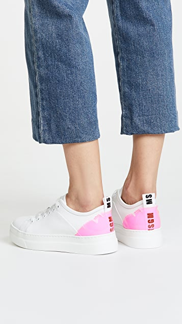 MSGM LeafLace Up Sneakers with Cup Sole
