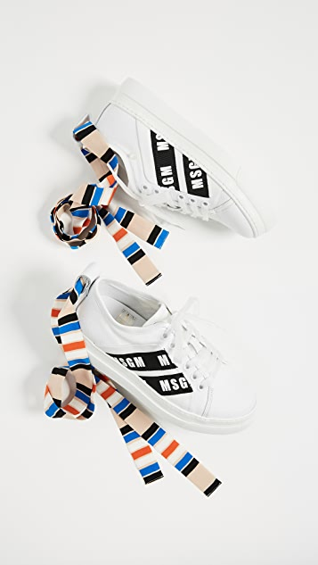 MSGM Ankle Knot Lace­ Up Sneakers with Cup Sole