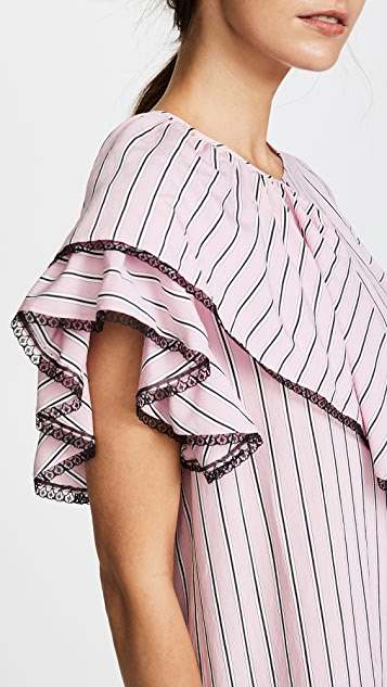 MSGM Striped Ruffle Dress