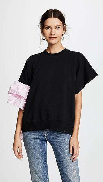 MSGM Shirting Ruffle Sweatshirt Tee