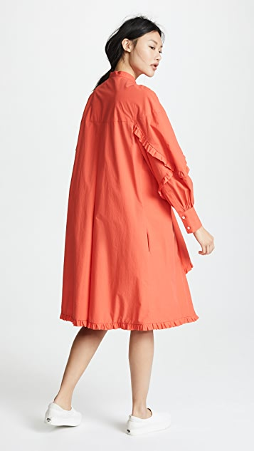 MSGM Ruffle Poplin Dress
