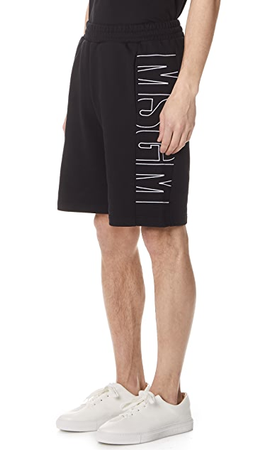 MSGM Side Logo Sweat Shorts