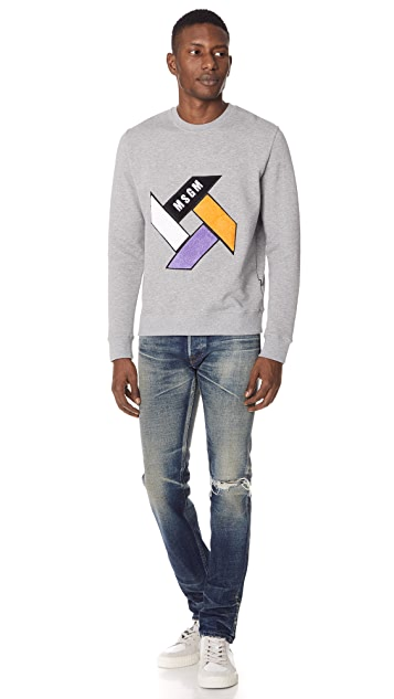 MSGM Propeller Logo Crew Neck Sweatshirt