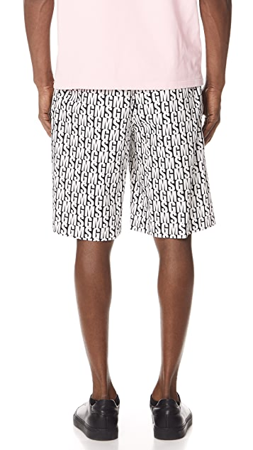 MSGM Allover Print Shorts