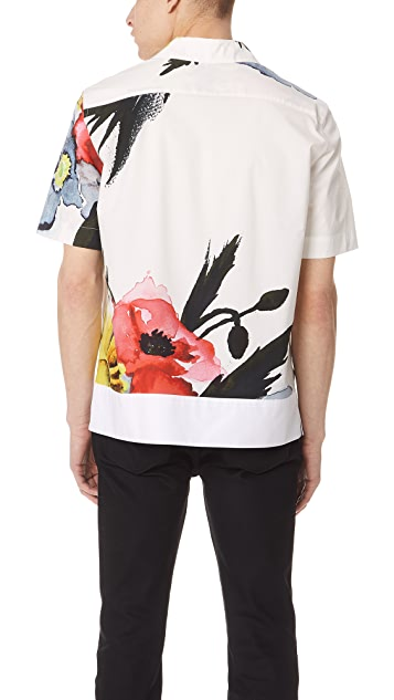MSGM Floral Watercolor Print Shirt