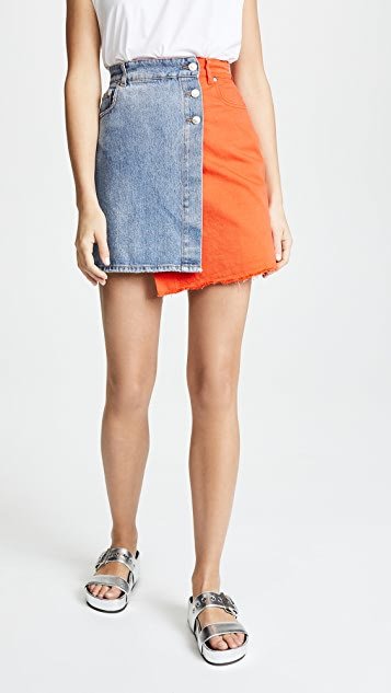 MSGM Colorblock Skirt - Blue/Orange