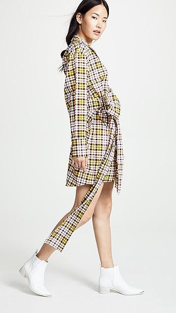 MSGM Платье-рубашка в клетку
