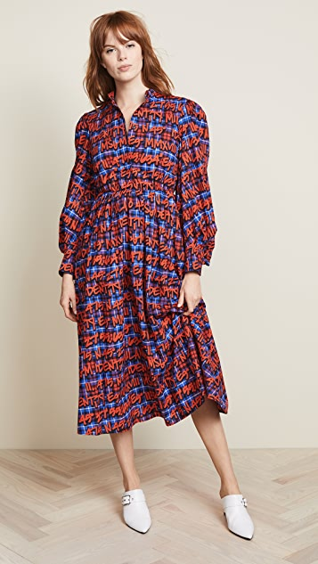 MSGM Plaid Logo Dress