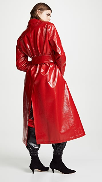 MSGM Faux Leather Trench Coat