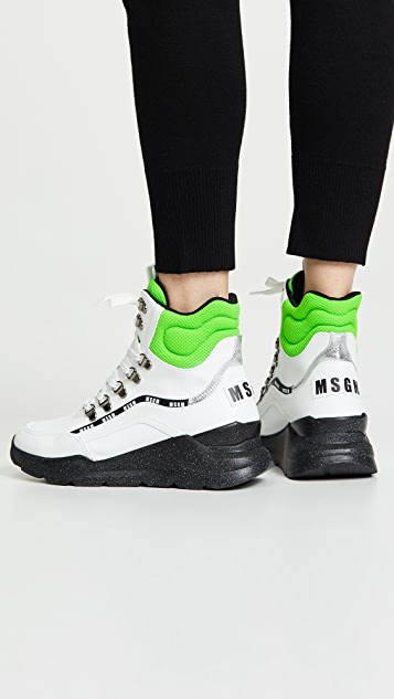 MSGM Chunky Running Lace Up Mid Sneakers