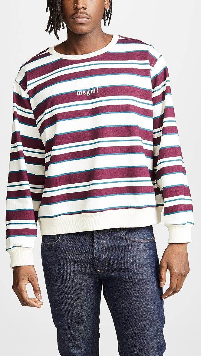 MSGM Striped Print Sweatshirt | EAST DANE