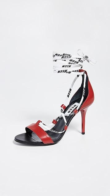 MSGM String High Heel Sandals