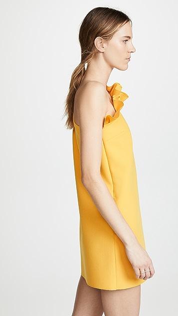 MSGM Платье с открытым плечом и оборками