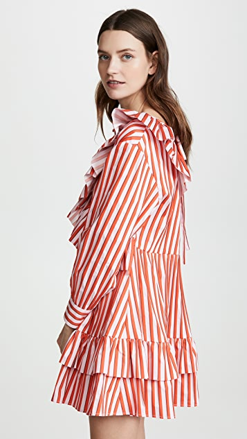 MSGM Ruffle Stripe Poplin Dress