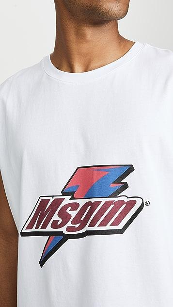 MSGM Lightning Bolt Logo Tee