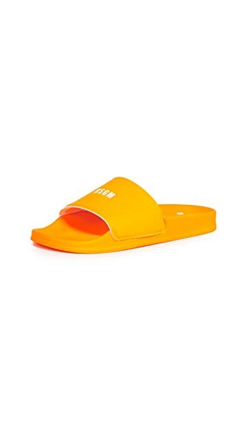 MSGM Micro Logo Pool Slides