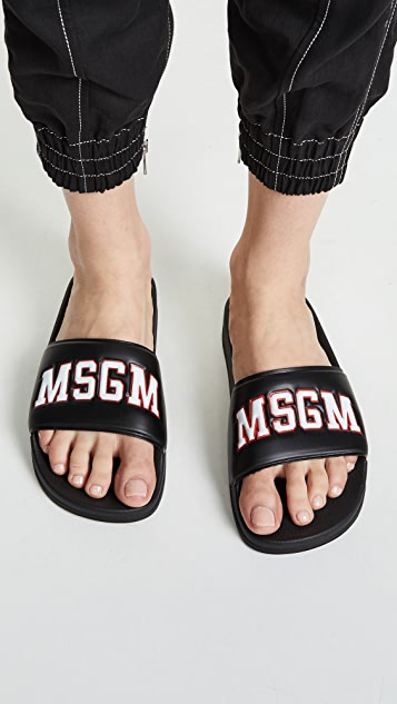 MSGM College Pool Slide Sandals