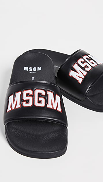 MSGM 学院风池边凉拖鞋
