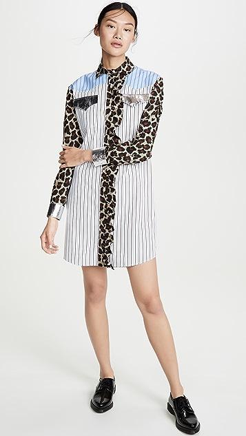MSGM Платье-рубашка с комбинированным принтом