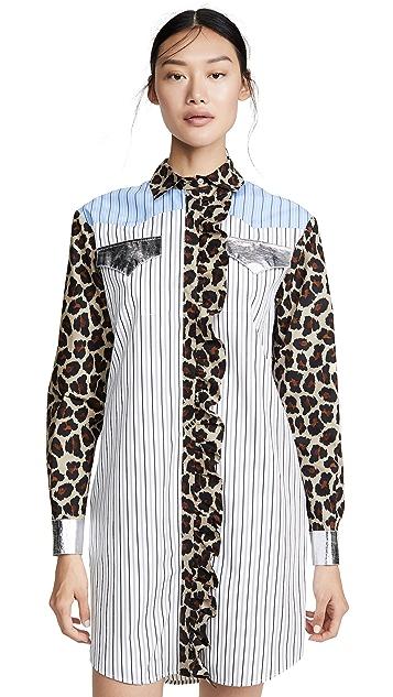 MSGM Mixed Print Shirtdress
