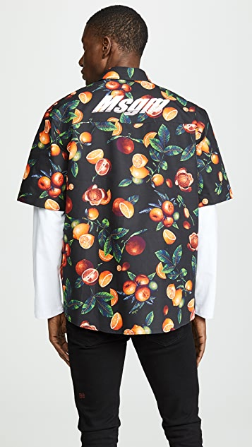 MSGM Orange Print Shirt