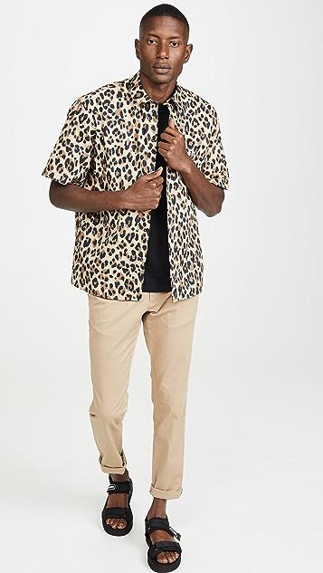 MSGM Leopard Print Short Sleeve Button Down Shirt