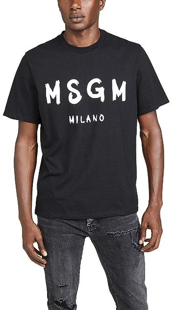 MSGM Msgm Milano Logo Short Sleeve Tee Shirt