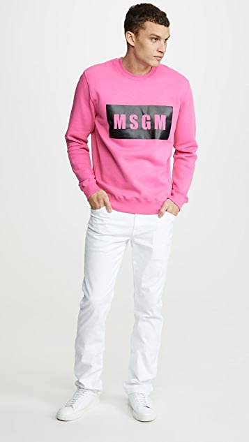 MSGM MSGM Big Box Logo Crew Neck Sweatshirt