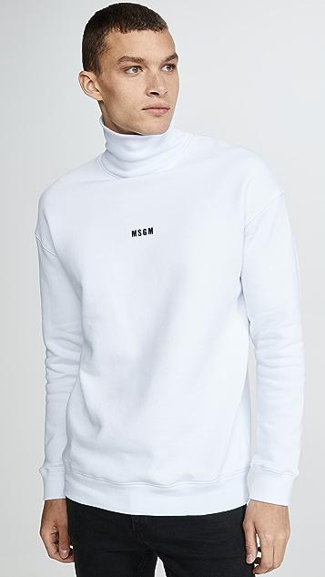 MSGM Mock Neck Logo Pullover