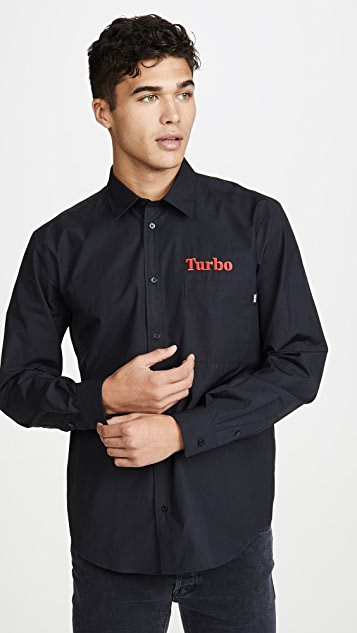 MSGM Turbo Logo Button Down Long Sleeve Shirt