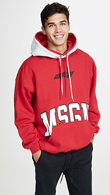 MSGM Big Logo Deconstructed Pullover Hoodie