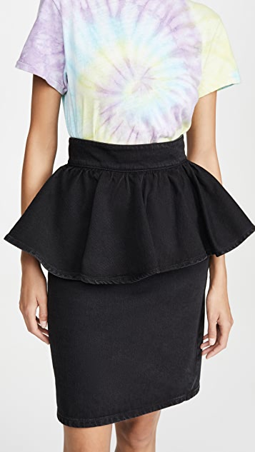MSGM Denim Peplum Skirt