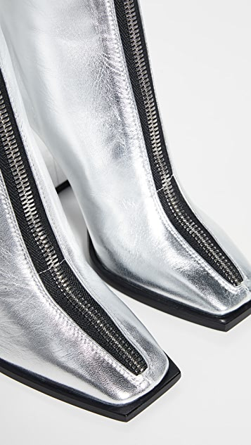 MSGM Square Toe Zip Ankle Booties