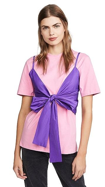 MSGM Tie Front T-Shirt Blouse