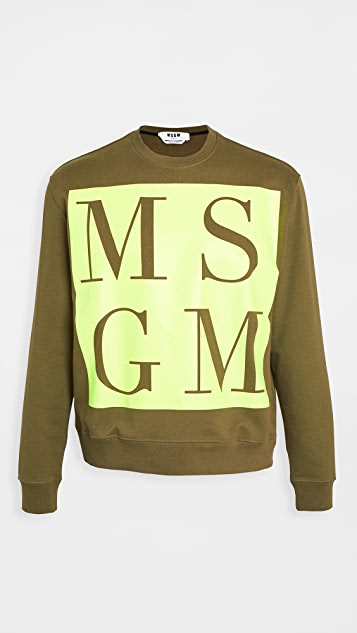 MSGM Large Neon Logo Sweatshirt