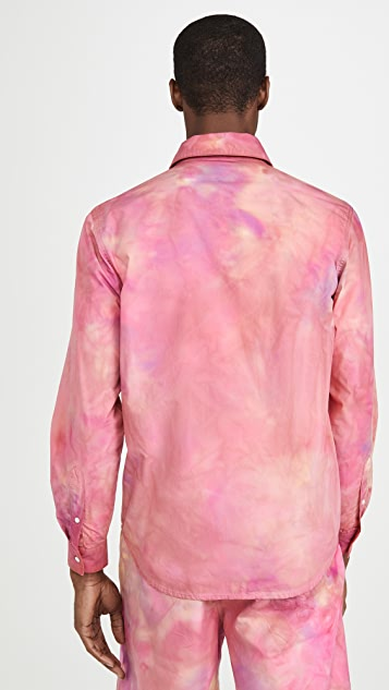 MSGM Tie Dye Print Long Sleeve Shirt