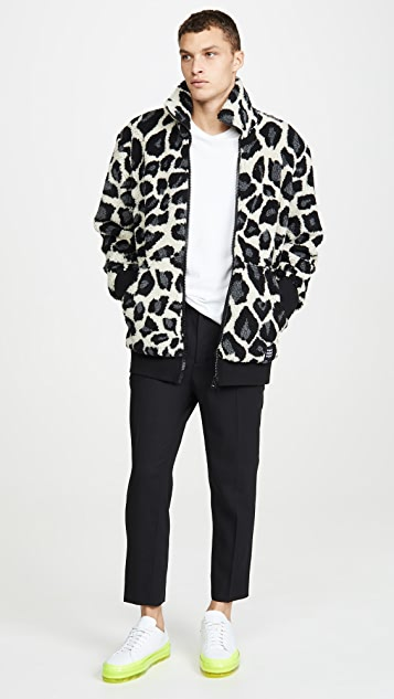 MSGM Leopard Fleece Full Zip Jacket
