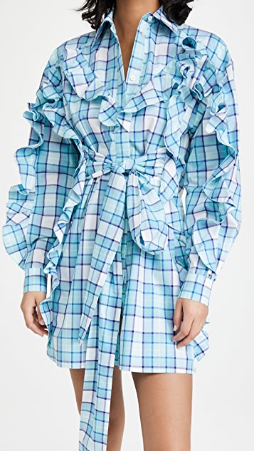 MSGM 正面褶边绑带连衣裙