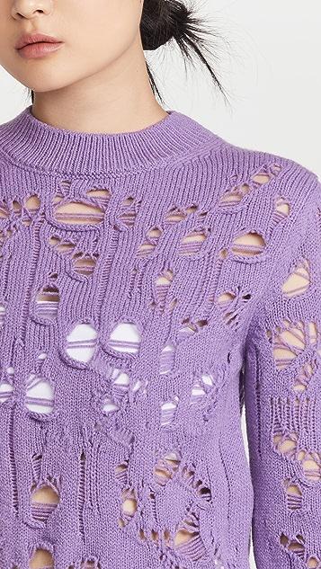 MSGM Distressed Sweater