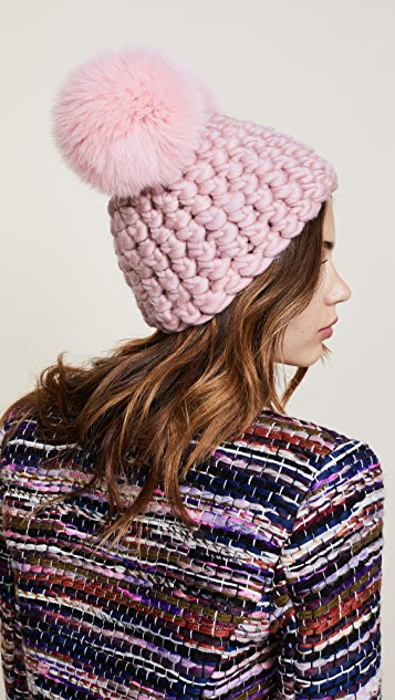 Mischa Lampert Double Pom Beanie Hat