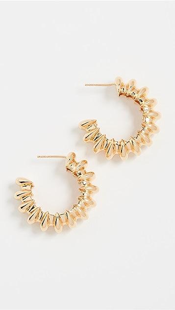 Missoma Gold 大号棱纹环扣圈式耳环