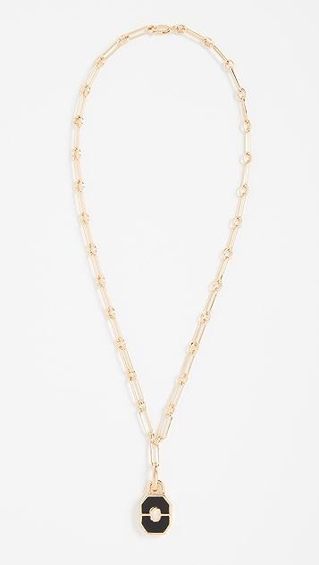 Missoma Gold Onyx Locket Aegis Chain Necklace
