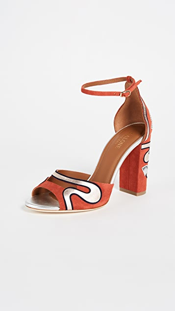 Malone Souliers Nina Strappy Pumps - Terracotta/Midnight/Silver
